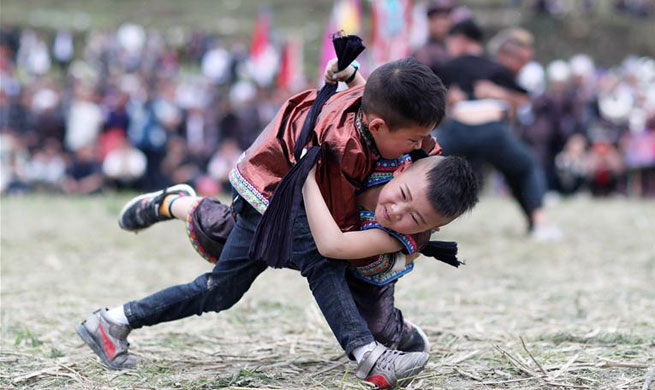 Traditional Wrestling Festival held in SW China's Guizhou