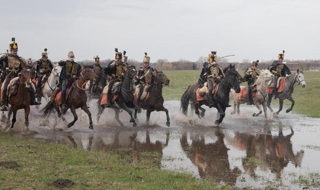 People re-enact historic battle in Tapiobicske, Hungary