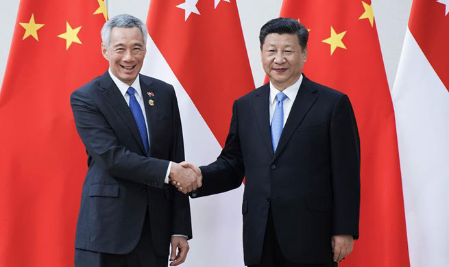 Chinese president meets Singaporean PM on promoting ties