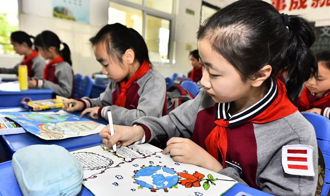 Schools in China hold various drawing activities to welcome Earth Day