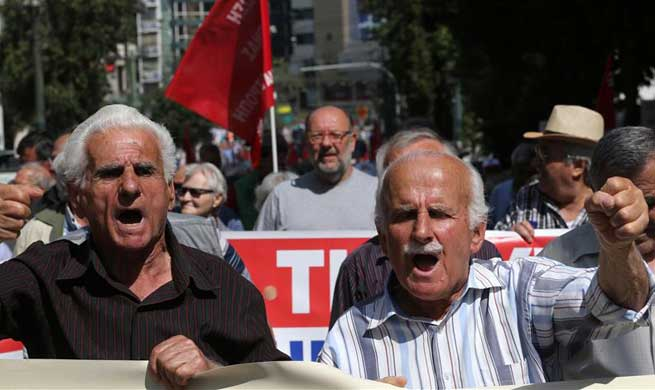 Greek pensioners protest new planned bailout cuts