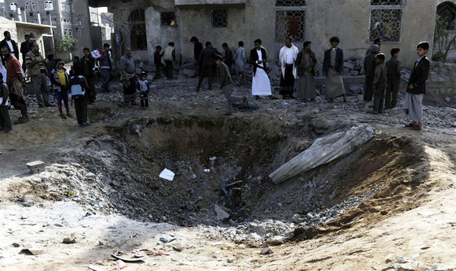Aftermath of airstrike by Saudi-led coalition in Sanaa, Yemen