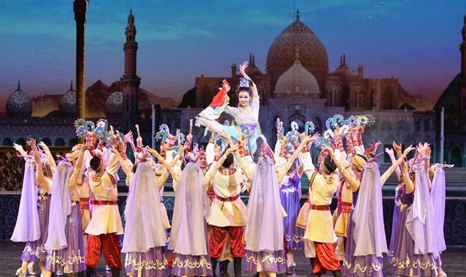 "Dance drama ""Silk Road"" staged in Dunhuang, NW China"