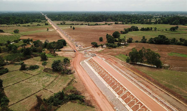 Longest bridge in China-Laos railway project under construction
