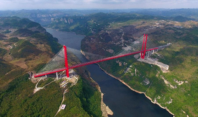 Aerial view of Yachihe Bridge of Guiyang-Qianxi highway in SW China
