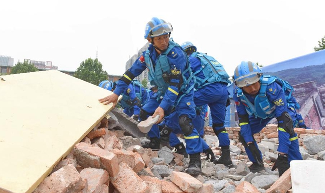 Earthquake drill held in Xingtai, north China's Hebei