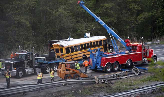 2 killed, dozens others injured in school bus crash with dump truck on U.S. New Jersey highway