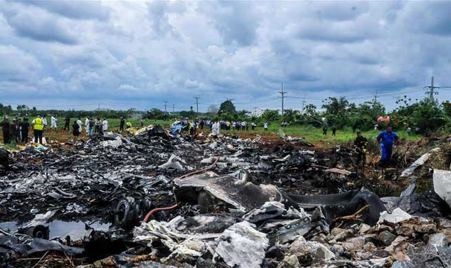 Rescuers work at plane crash site in Havana, Cuba