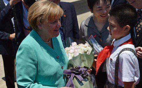 German Chancellor Angela Merkel arrives in Shenzhen, south China
