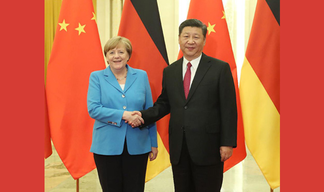 Xi meets Merkel, calls for higher-level China-Germany ties