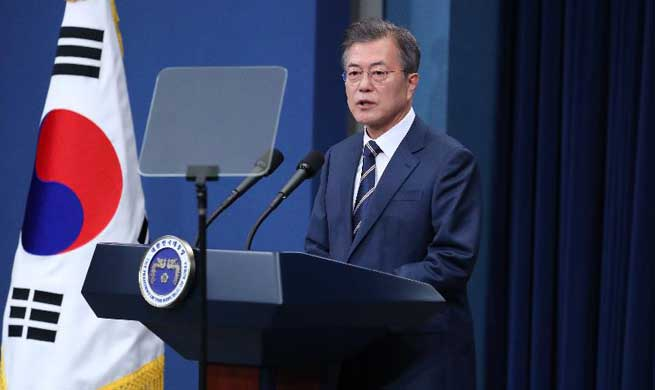 "S. Korean president says both Kim, Trump wish success of DPRK-U.S. summit ""wholeheartedly"""