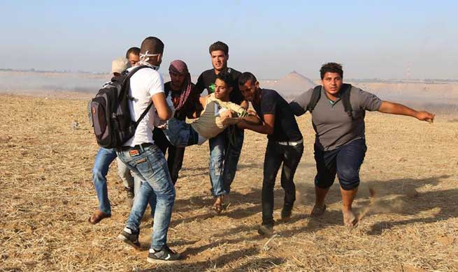 In pics: clashes on Gaza-Israel border, east of Khan Younis