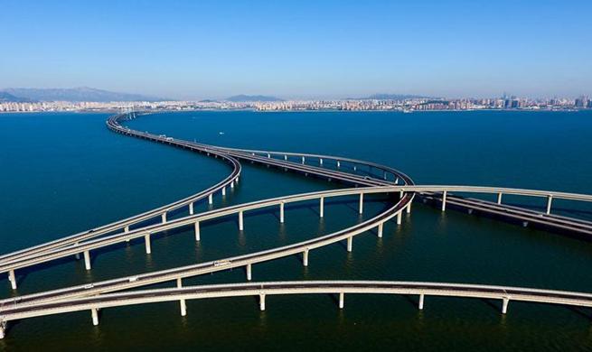 Aerial view of Qingdao Jiaozhou Bay Bridge in east China