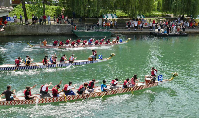 Dragon boat race held on Ljubljanica River in Slovenia