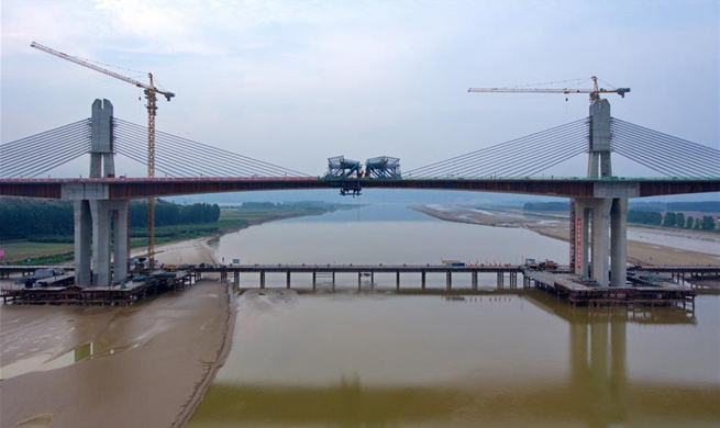 Closure of Yellow River Bridge of Yuncheng-Lingbao Expressway finished in N China