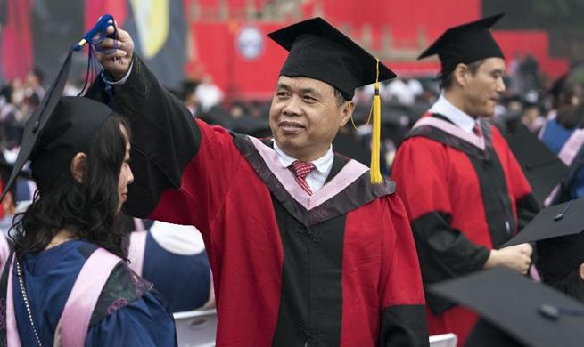 Graduates attend commencement ceremony of Wuhan University