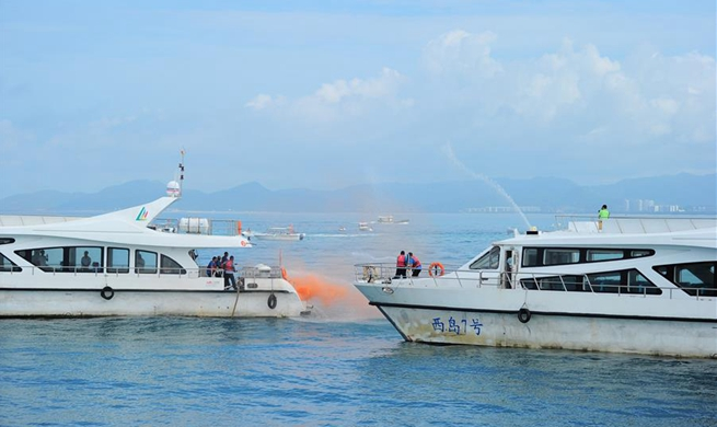 Emergency drill on securing marine transportation held in south China's Sanya