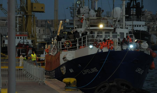 Migrant rescue vessel Lifeline docks in Malta