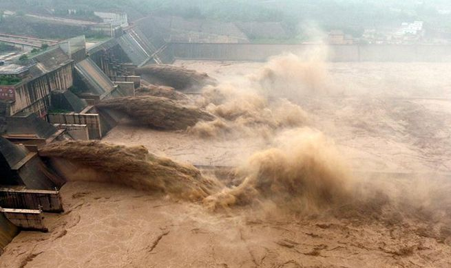 Water gushes out from Xiaolangdi Reservoir on Yellow River