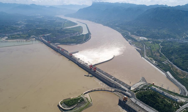 Water discharging from Three Gorges Dam in central China's Hubei