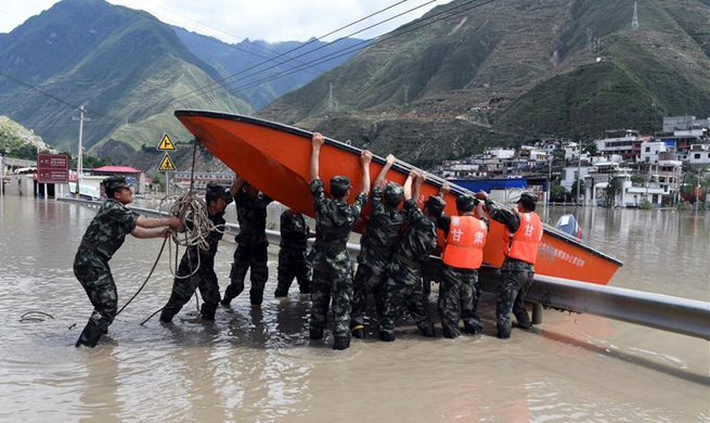Rescue work underway in flooded areas in Zhouqu County, China's Gansu