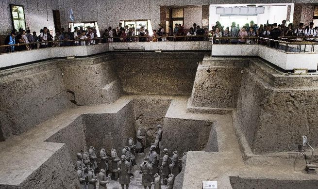 Tourists visit Emperor Qinshihuang's Mausoleum Site Museum in NW China