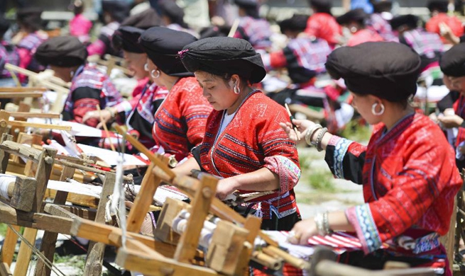 "Annual ""drying clothes"" festival celebrated in Longji Township, south China's Guangxi"