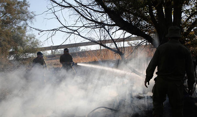 Firefighters try to extinguish fire caused by inflammable materials in Israel