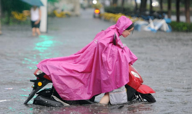 Heavy rain brought by typhoon Jongdari hits Jiujiang, E China's Jiangxi