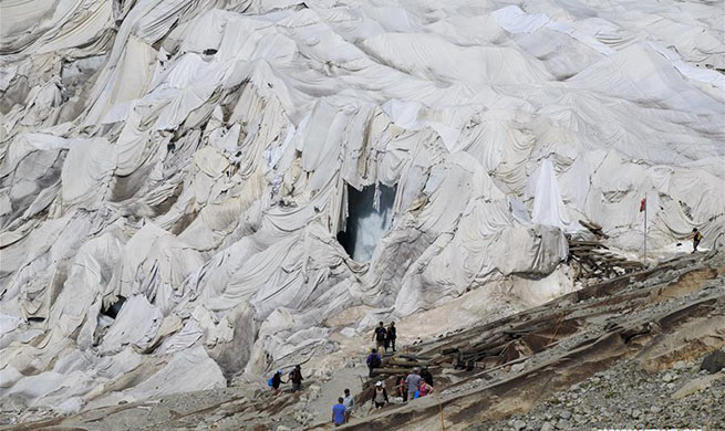 White blankets cover Rhone Glacier in Switzerland