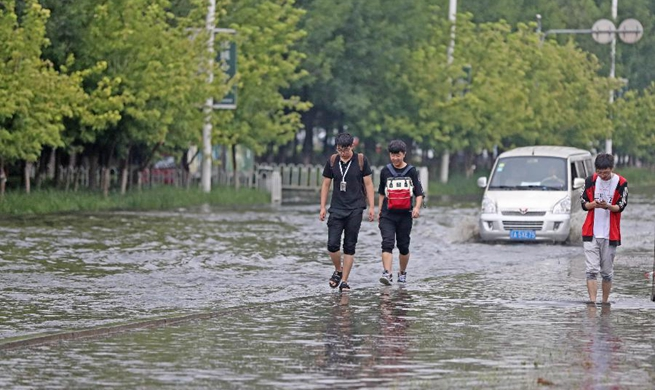 Heavy rainfall causes flood in Shenyang, NE China