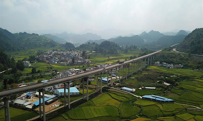 Scenery along Lanzhou-Haikou Expressway in China's Guizhou