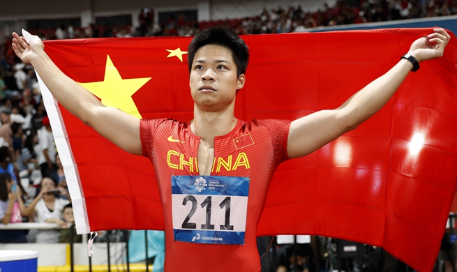 China's Su Bingtian wins gold in men's 100m at Jakarta Asiad