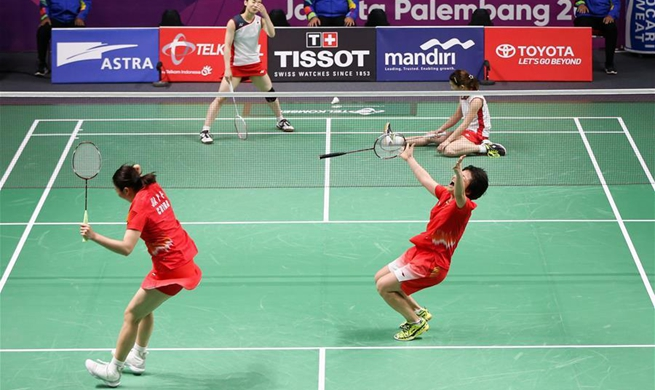 Chinese shuttlers Chen and Jia crowned in Asiad women's doubles