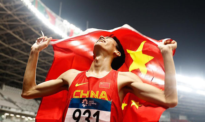 Wang Yu of China claims title of men's high jump final at Asian Games