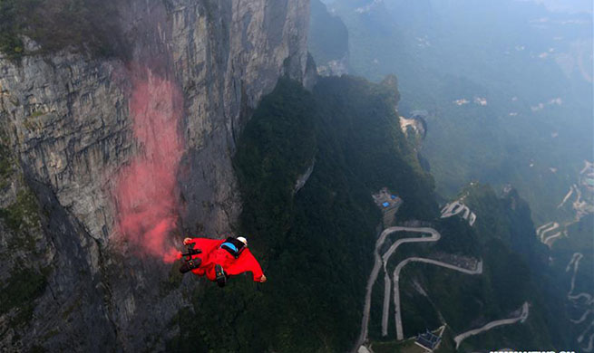 Wingsuit flying competition held in Zhangjiajie, C China's Hunan