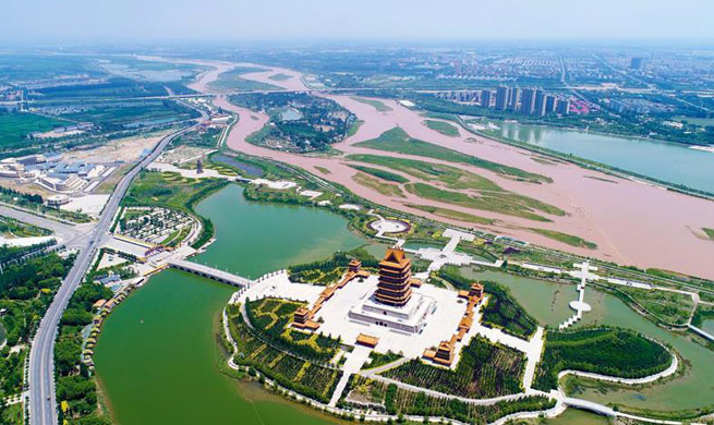 Aerial view of NW China's Ningxia