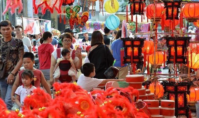 Lanterns on sale for Mid-Autumn Festival in Hanoi, Vietnam