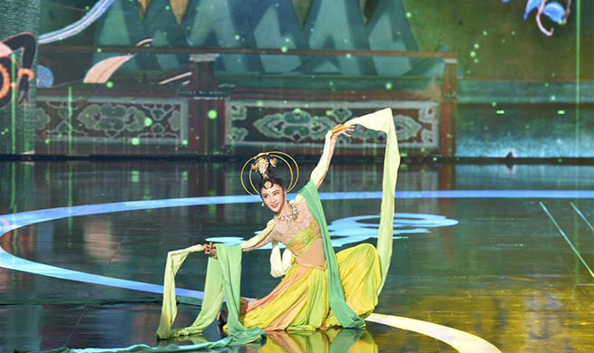 Welcoming performance of 3rd Silk Road (Dunhuang) International Cultural Expo held in Gansu