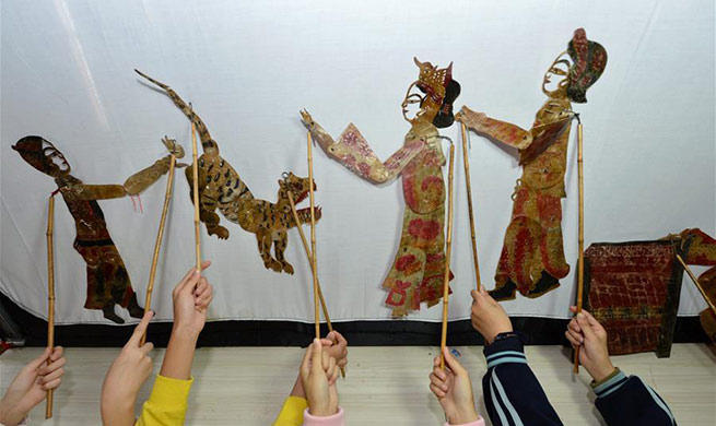 Students learn to perform shadow puppets under guidance of folk artist in China's Hubei