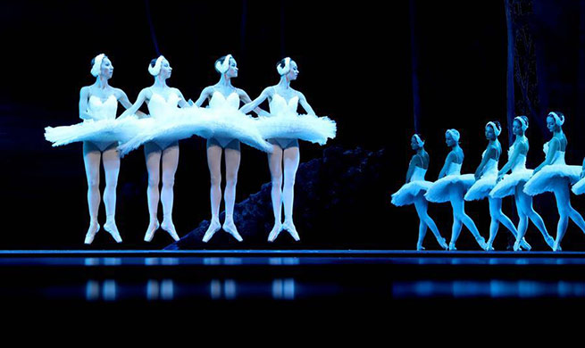 "Ballet ""Swan Lake"" staged at Tangxianzu Theater in Fuzhou, China's Jiangxi"