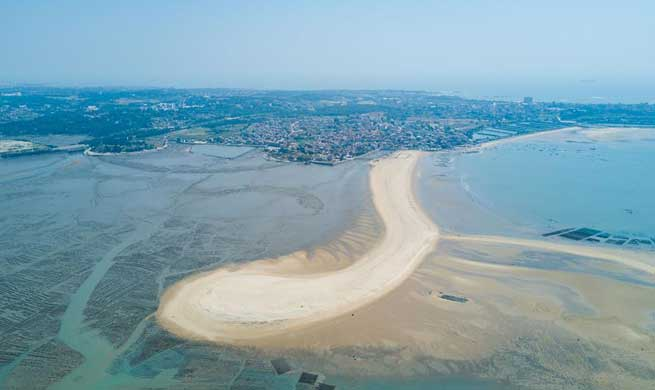 Landscape of coastal sandbar in southeast China's Fujian