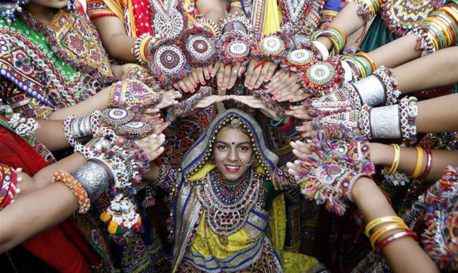 Garba dance performed during rehearsals ahead of Navratri festival in India