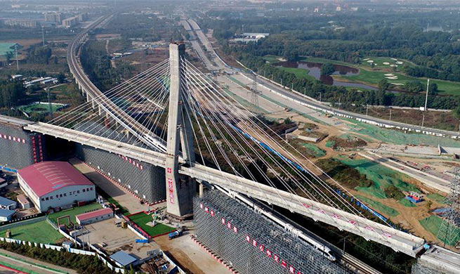 Grand bridge over Xuzhou-Lanzhou railway completes rotation construction