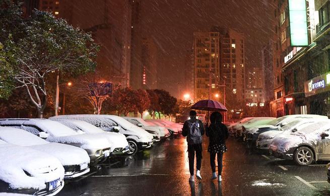 Snow falls in NW China's Xining