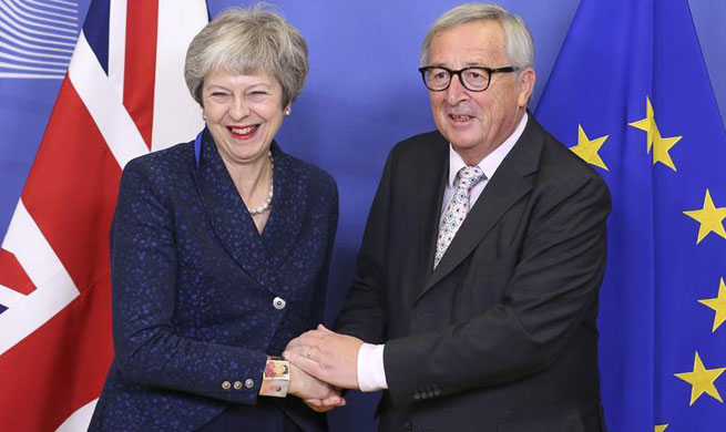 European Commission president meets with Theresa May in Brussels, Belgium
