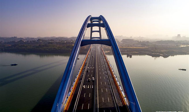 Aerial view of Guantang bridge in Liuzhou, south China's Guangxi