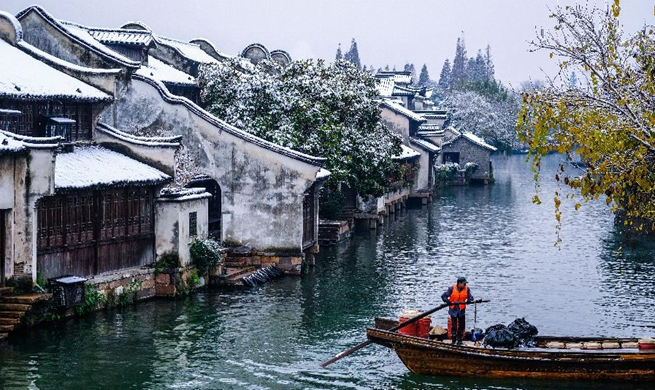 Snow scenery in Wuzhen, east China's Zhejiang