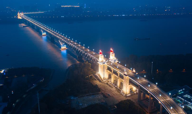 Night view of Nanjing Yangtze River Bridge after renovation