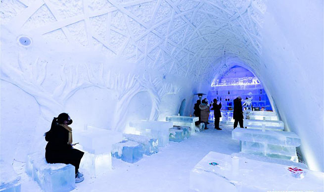 In pics: ice and snow hotel in north China's Inner Mongolia